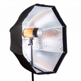 Payung Octagon Softbox Reflektor untuk Flash Speedlight 120CM - LD-TZ207 - Black/Silver - 2