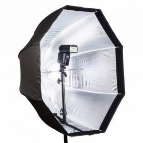 Payung Octagon Softbox Reflektor untuk Flash Speedlight 120CM - LD-TZ207 - Black/Silver - 3