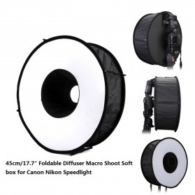 Universal Ring Softbox Flash Diffuser for Camera DSLR - A008 - Black - 5
