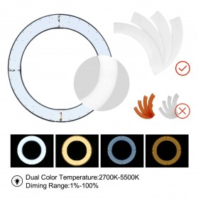 TaffSTUDIO Lampu Halo Ring Light LED Kamera DSLR Smartphone 65W 336 LED 12 Inch - RL480 - White - 7