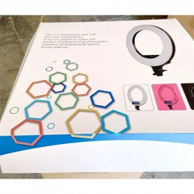 TaffSTUDIO Lampu Halo Ring Light LED Kamera DSLR Smartphone 65W 336 LED 12 Inch - RL480 - White - 15