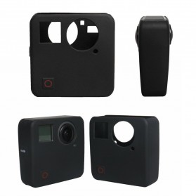Action Camera Silicone Case + Lens Cover for GoPro Fusion - Black - 4