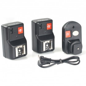 Andoer Remote Wireless Flash Trigger dengan Transmitter & Receiver - PT-04GY - Black