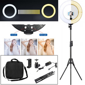 TaffSTUDIO Lampu Halo Ring Light LED Kamera DSLR Smartphone 65W 336 LED 12 Inch with Tripod - RL-18