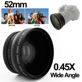 Wide Angle Lens with Macro 0.45X 52mm for Nikon D40 / D60 / D70s / D3000 / D3100 / D5000 - Black