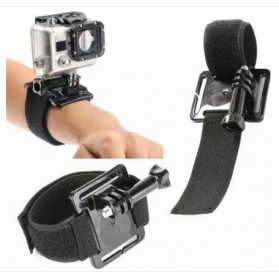 Velcro Wrist Band with Mount for Xiaomi Yi / Xiaomi Yi 2 4K and GoPro Hero 3+ / 3 / 2 / 1 - Black