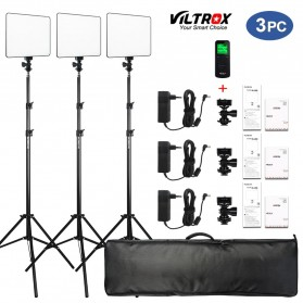 Viltrox Lampu Studio Bi-color Dimmable LED Panel Lighting Kit 75 Inch 3PCS - VL-200T - Black
