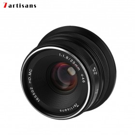 7Artisans 25mm F1.8 Manual Focus Prime Fixed Lens for Canon - Black - 1