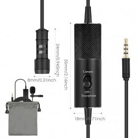 Yanmai Lavalier Omnidirectional Condenser Mini Microphone 3.5mm - R955S - Black - 8