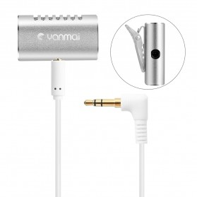 Yanmai Lavalier Mini Clip-on Microphone 3.5mm - R977 - Silver - 12