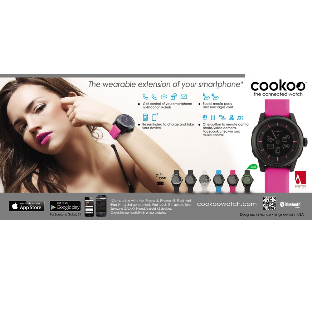 COOKOO Watch for iPhone 5/4s, iPad, iPod, Galaxy S4 - Baby Pink