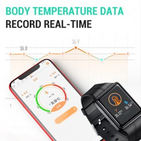SKMEI Smartwatch Sport Tracker Blood Pressure Heart Rate Thermometer - SW07 - Black - 5