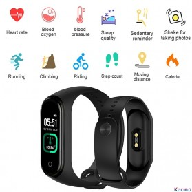 SKMEI Smartwatch Sport Tracker Blood Pressure Heart Rate Thermometer - 4 Pro - Black