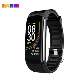 SKMEI Smartwatch Sport Waterproof Heart Rate Thermometer for Android iOS - C6T - Black