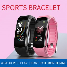 SKMEI Smartwatch Sport Waterproof Heart Rate Thermometer for Android iOS - C6T - Black - 3