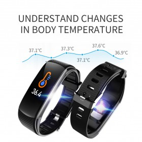 SKMEI Smartwatch Sport Waterproof Heart Rate Thermometer for Android iOS - C6T - Black - 6
