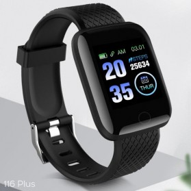SKMEI Smartwatch Sport Tracker Bluetooth Heart Rate - 116 PLUS - Black