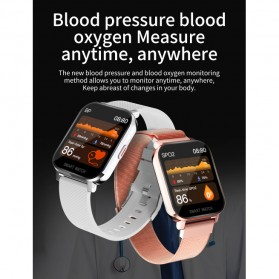 SKMEI Smartwatch Sport Fitness Tracker Heart Rate Blood Oxygen Thermometer Stainless Steel - MT28S - Black - 6