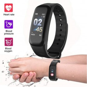 SKMEI Smartwatch Sport Fitness Tracker Heart Rate Blood Oxygen - C1 Plus - Black