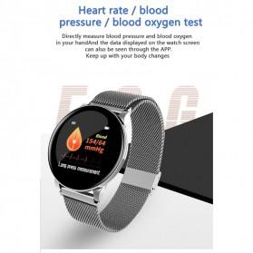 SKMEI Smartwatch Sport Fitness Tracker Heart Rate Blood Oxygen Stainless Steel - W8S - Black - 5