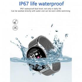 SKMEI Smartwatch Sport Fitness Tracker Heart Rate Blood Oxygen Stainless Steel - W8S - Black - 8