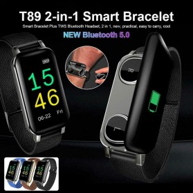 SKMEI Smartwatch Sport Fitness Tracker Heart Rate Blood Pressure with Bluetooth Earphone - T89 - Black