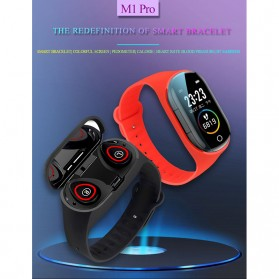 SKMEI Smartwatch Sport Fitness Tracker Heart Rate Blood Pressure with Bluetooth Earphone - M1 - Black