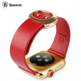 Baseus Mingshi Series Real Leather Band for Apple Watch 38mm Series 1 & 2 - Red