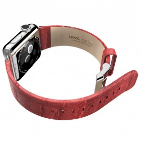 Hoco Bamboo Texture Leather Band for Apple Watch 38mm Series 1 & 2 - Red