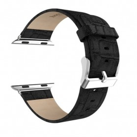 Hoco Bamboo Texture Leather Band for Apple Watch 42mm Series 1/2/3/4 - Black - 2