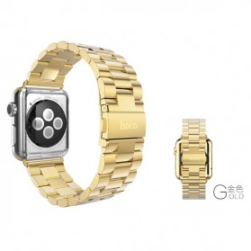 Hoco 3 Pointer Style Stainless Steel Band for Apple Watch 38mm Series 1/2/3 - Golden