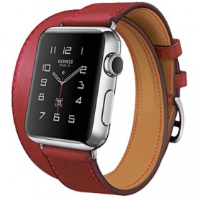 Hoco Art Series Genuine Real Leather Strap for Apple Watch 42mm Series 1 & 2 - Red