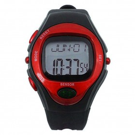 Waterproof Sports Pulse Rate Monitor Calorie Counter Digital Watch - Red