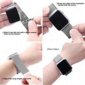Lerxiuer Milanese Watchband untuk Apple Watch 38mm Series 1/2/3/4 - AP01 - Silver - 4