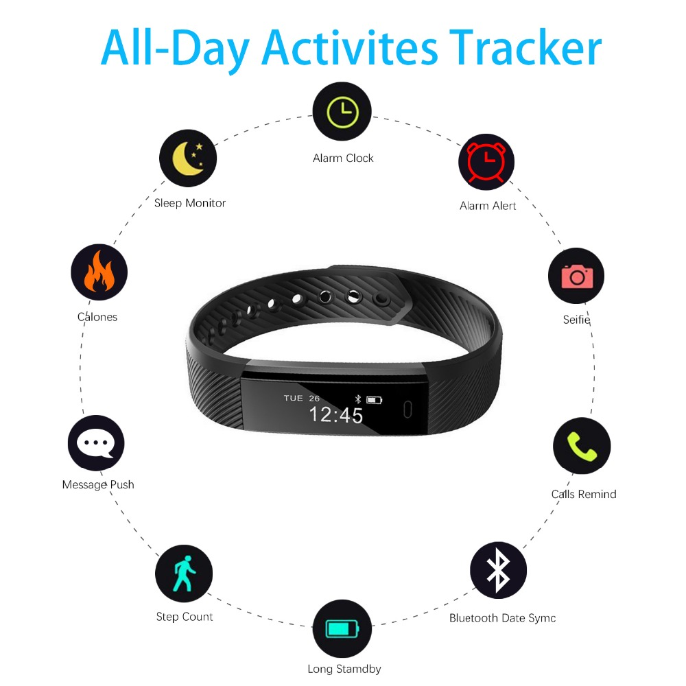 ID 115 Smartwatch Bracelet Fitness Tracker - Black