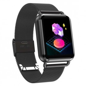 Smartwatch Sporty Fitness Tracker Android iOS Strap Stainless Steel - Q3 - Black