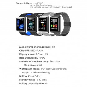 Smartwatch Sporty Fitness Tracker Android iOS Strap Silicone - N98 - Black - 8