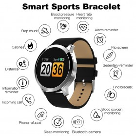 Smartwatch Sporty Fitness Tracker Android iOS Strap Leather - Q8 - Black - 6