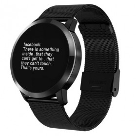 Smartwatch Sporty Fitness Tracker Android iOS Strap Stainless Steel - Q8 - Black