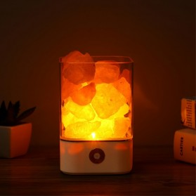ICOCO Lampu Tidur LED Crystal Salt Lamp of Himalaya Lava Lamp - M4 - Black - 2