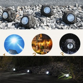 Lampu Hias Taman LED Solar Lamp Stone Imitation - GA-003 - Black