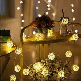 Lampu Hias Dekorasi Bola Rotan String Fairy 1.2 Meter 10 LED - B073 - Warm White - 2