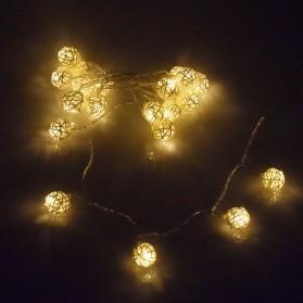 Lampu Hias Dekorasi Bola Rotan String Fairy 1.2 Meter 10 LED - B073 - Warm White - 3