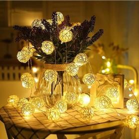 Lampu Hias Dekorasi Bola Rotan String Fairy 1.2 Meter 10 LED - B073 - Warm White - 5