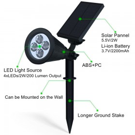 Hyelaer Lampu Taman Energi Solar Panel 4 LED - TS-G0102 - Black - 3
