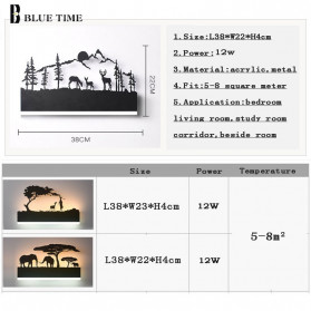 Blue Time Lampu Hias Dinding LED Siluet Pemandangan 12W - WLA8300 - Black - 5