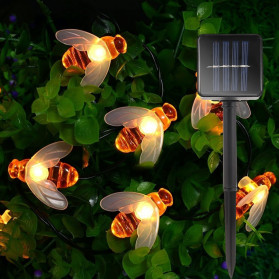 Finether Lampu Hias Dekorasi Lebah Bee 50 LED with Solar Panel - BE306 - Warm White - 1