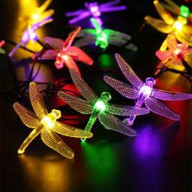 YUSHILED Lampu Hias Dekorasi Dragonfly 20 LED 5 Meter with Solar Panel - M088 - Multi-Color