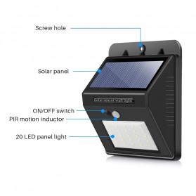 konesky Lampu Solar Sensor Gerak Outdoor Weatherproof 25 LED 6500K - L20 - Black - 5