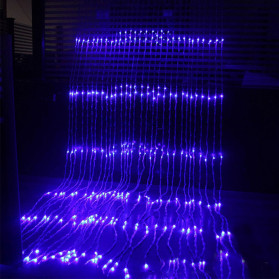 Kaslam Lampu Dekorasi Dinding Waterfall Meteor Shower Light 3x3Meter 320 LED - 320L - Blue - 2